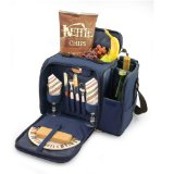 Picnic Time Malibu Insulated Shoulder Pack with Deluxe Picnic Service for 2, Navy Blue